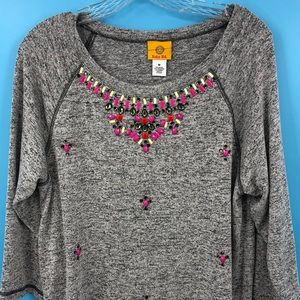 Ruby Rd. Women's Medium Gray Blouse With Beads